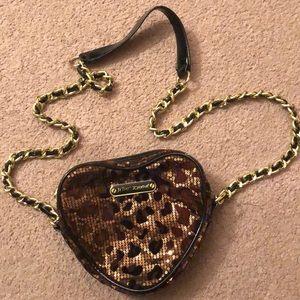 Betsey Johnson sequin cheetah print crossbody bag
